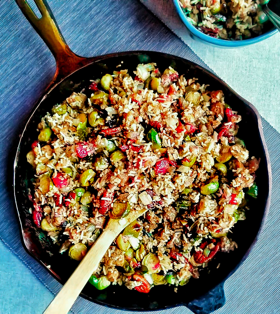 Apple Sage Vegan Sausage and Roasted Brussels Sprout Stir-Fry