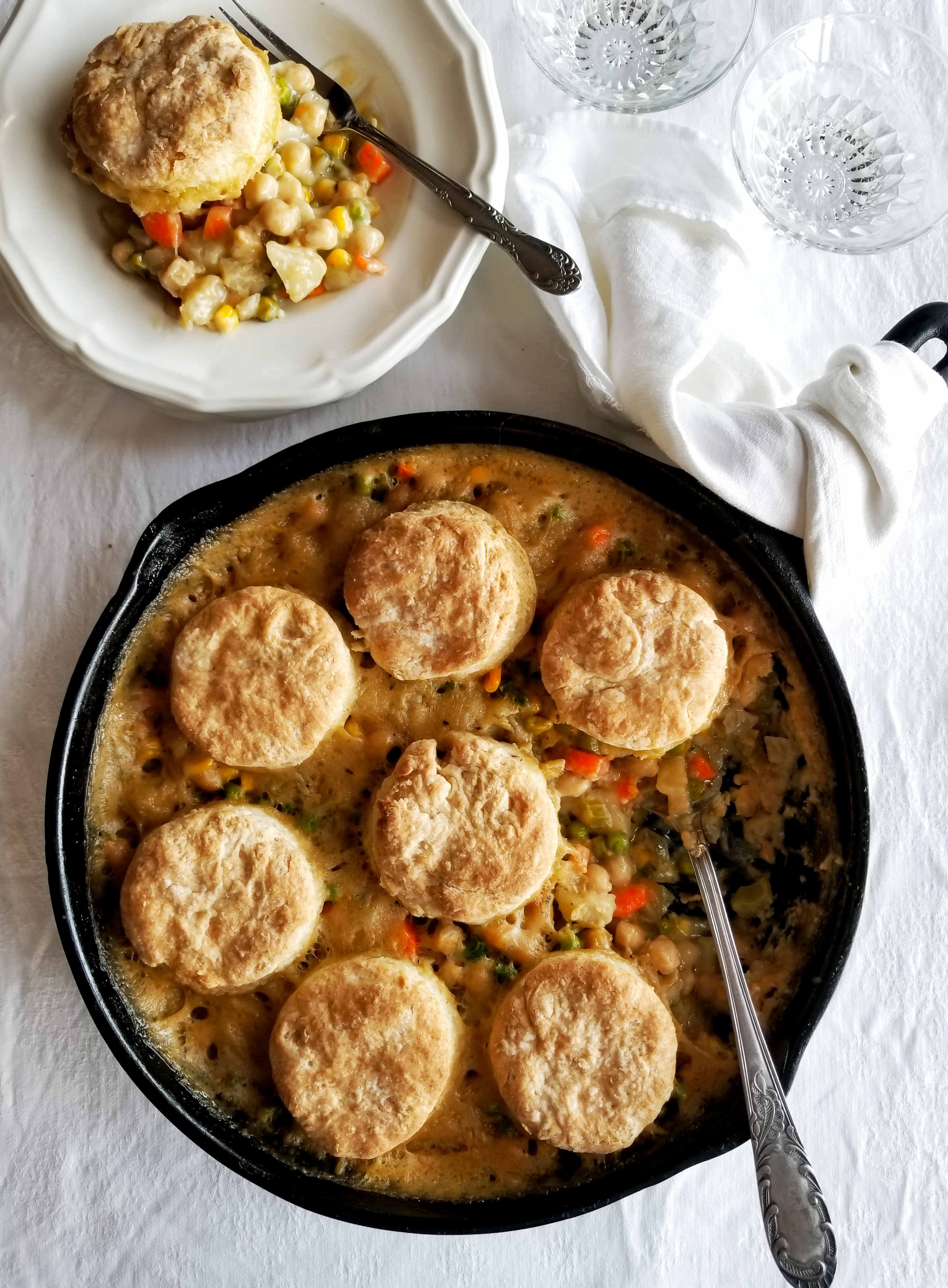 Chickpea Pot Pie with Flaky Biscuits