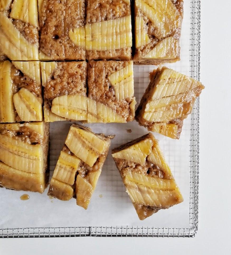 Upside Down Caramel Banana Sheet Cake