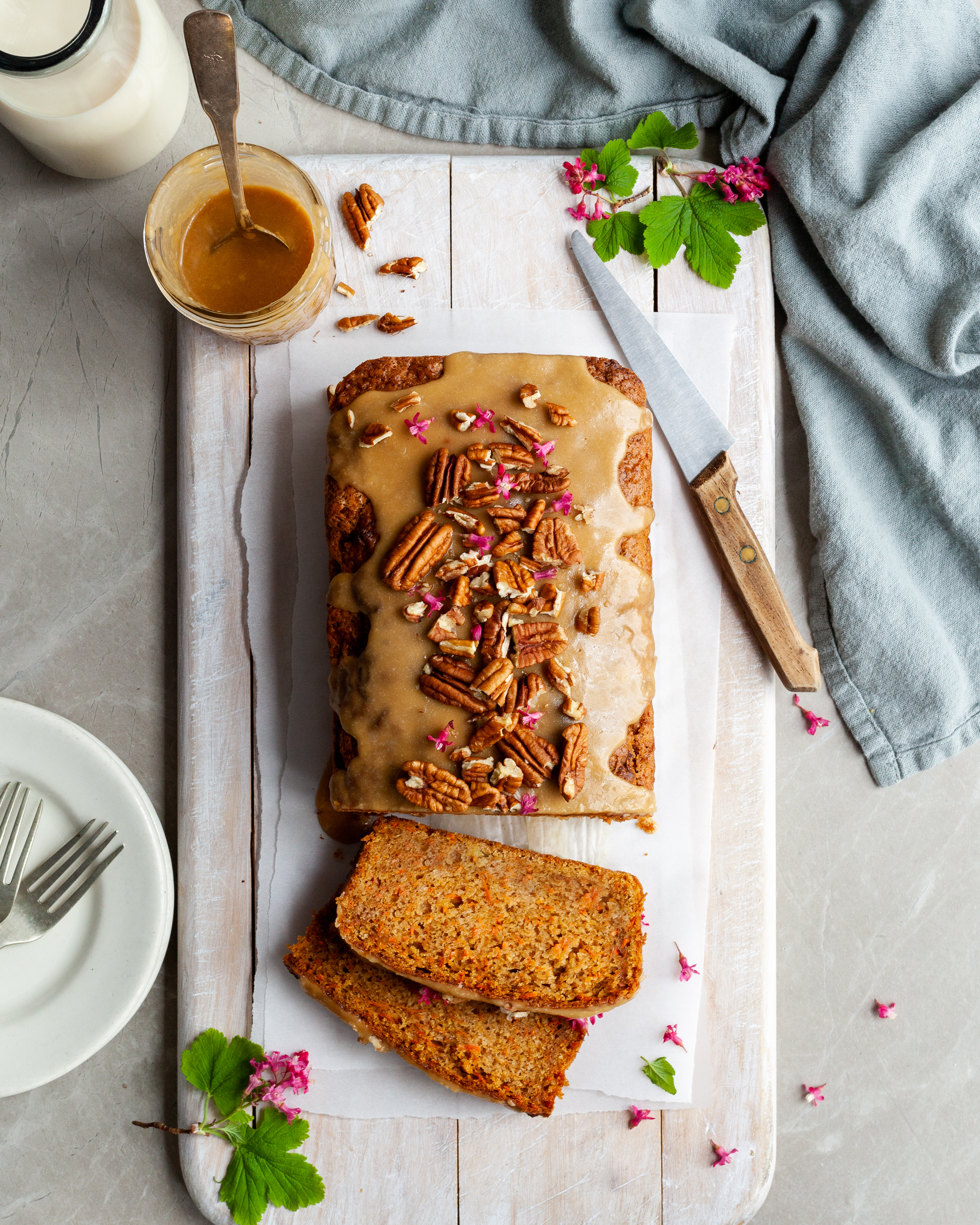 Carrot Spice Loaf with Maple Glaze with 2 slices cut