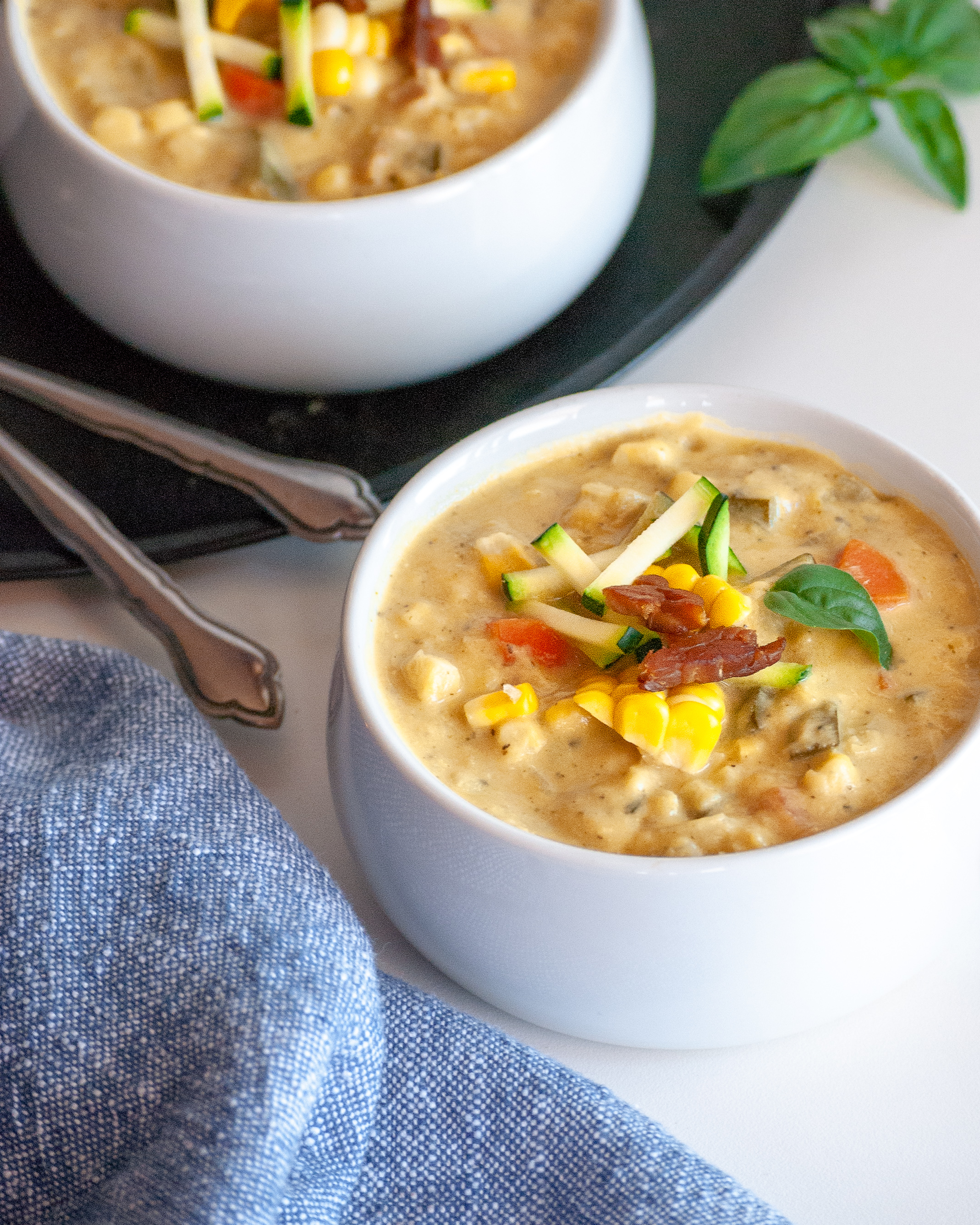 Creamy Corn and Zucchini Chowder with Tempeh Bacon
