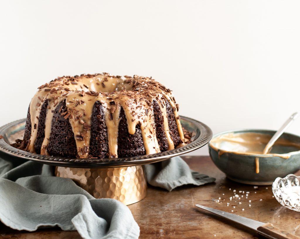 Vegan Chocolate Bundt Cake with Salted Peanut Butter Glaze before being sliced