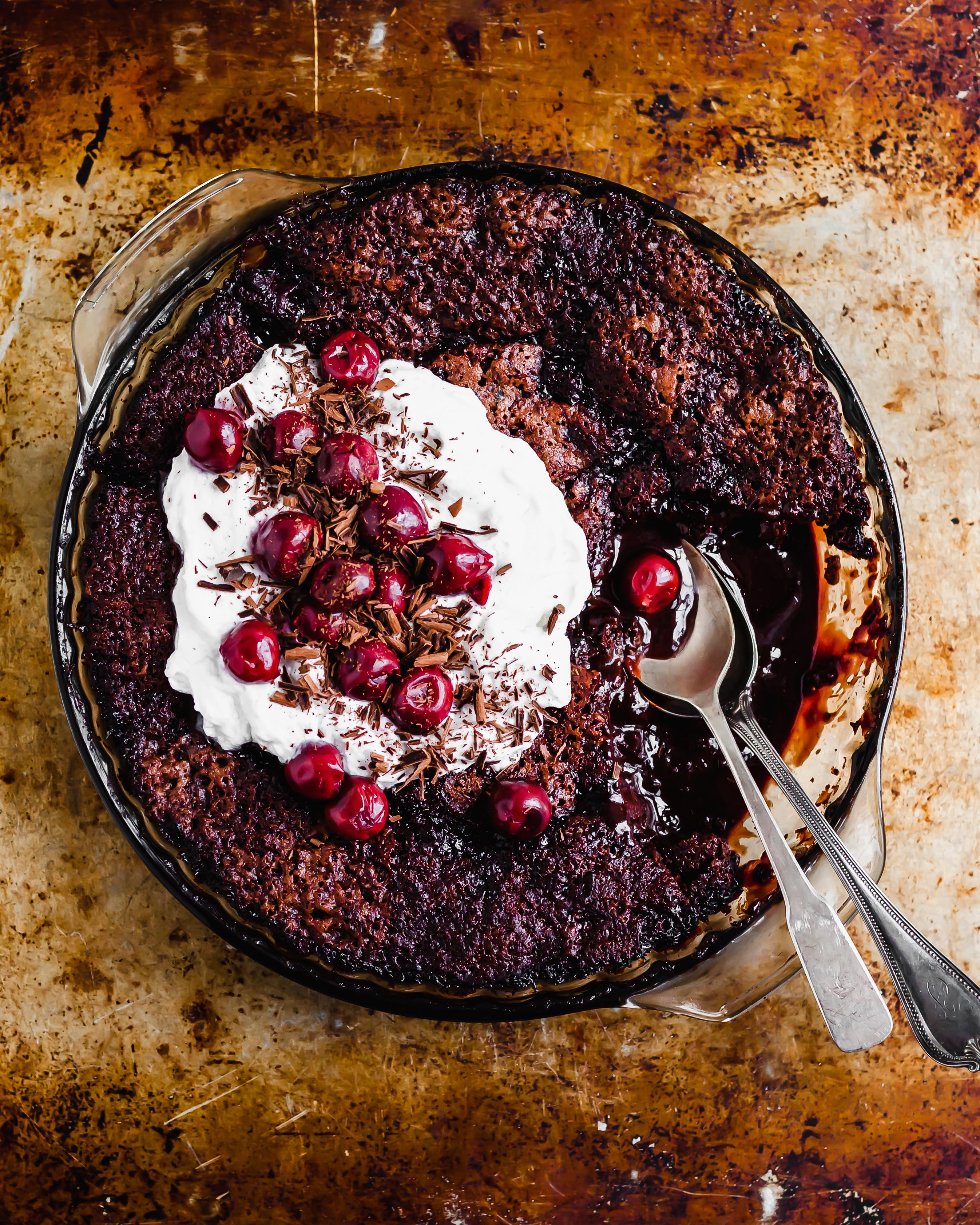 Saucy Cherry Chocolate Fudge Cake