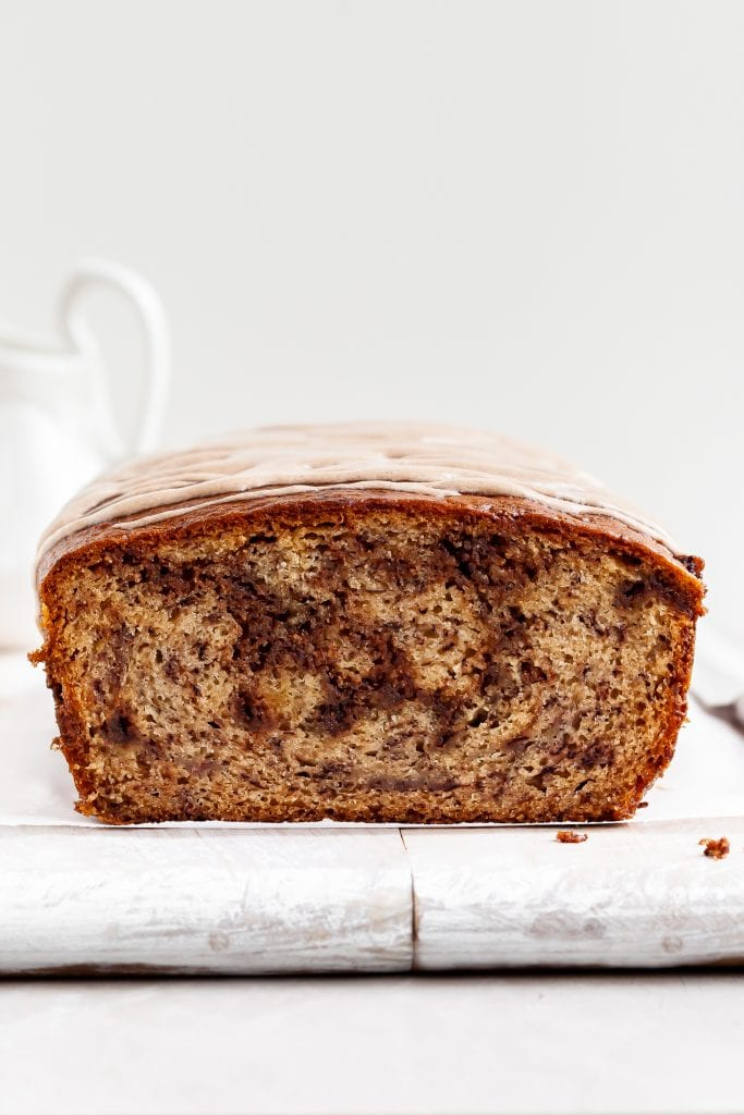 View of first slice from loaf of vegan Cinnamon Swirl Banana Bread