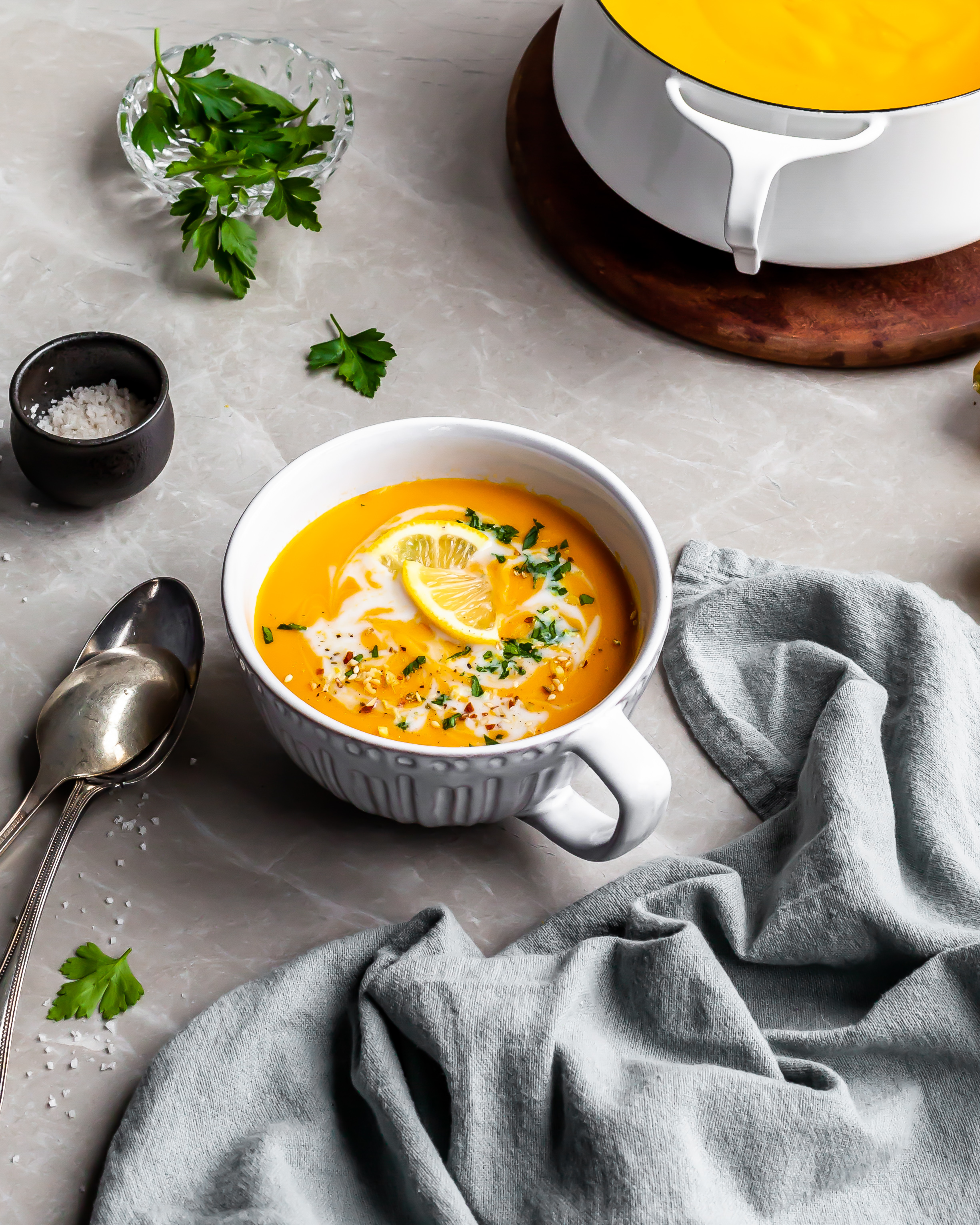 Creamy Curried Carrot, Ginger and Red Lentil Soup