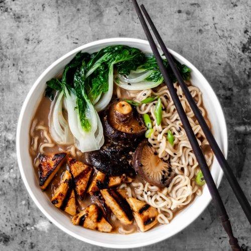 Flatlay of 1 bowl of Vegan Mushroom Miso Ramen