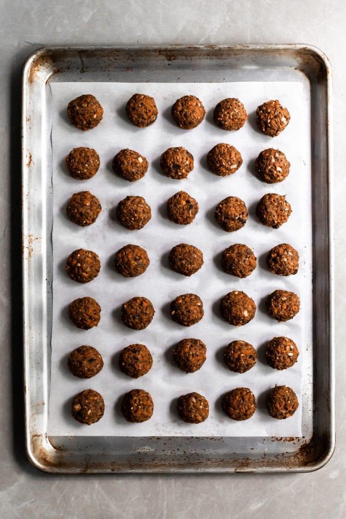 Vegan Swedish Meatballs on baking sheet ready for the oven