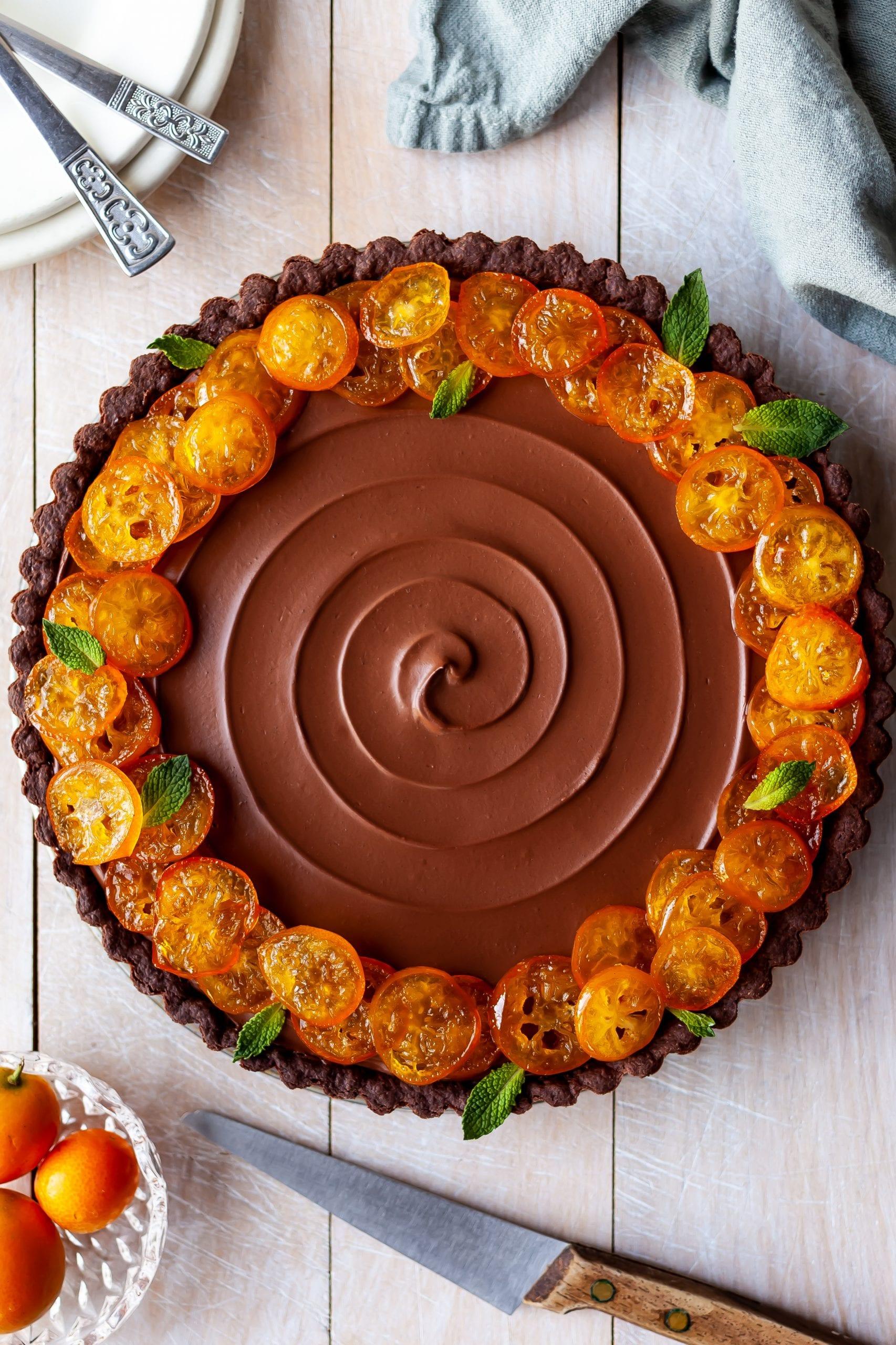 Vegan Chocolate Orange Truffle Tart with Candied Kumquats