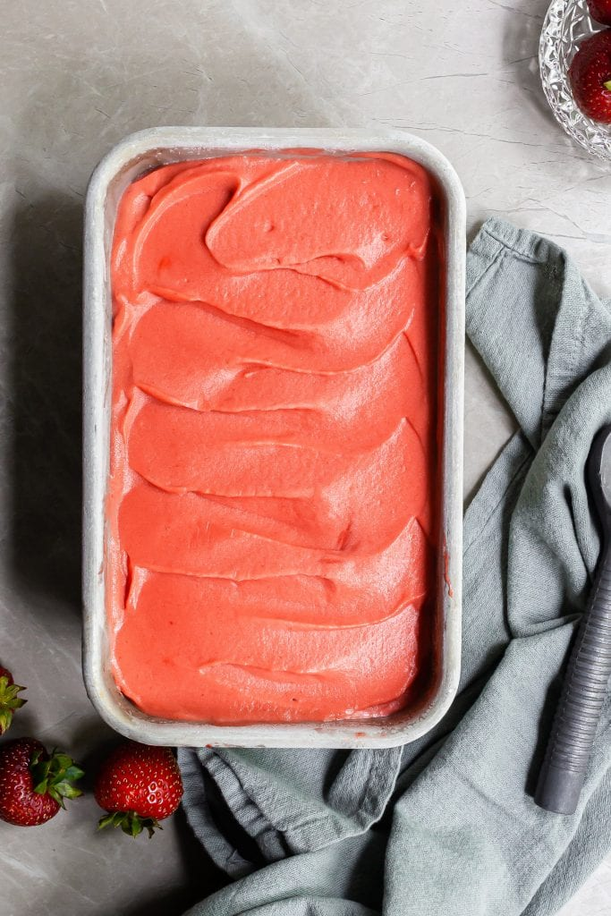 Sorbet swirled in a loaf pan, just before being scooped