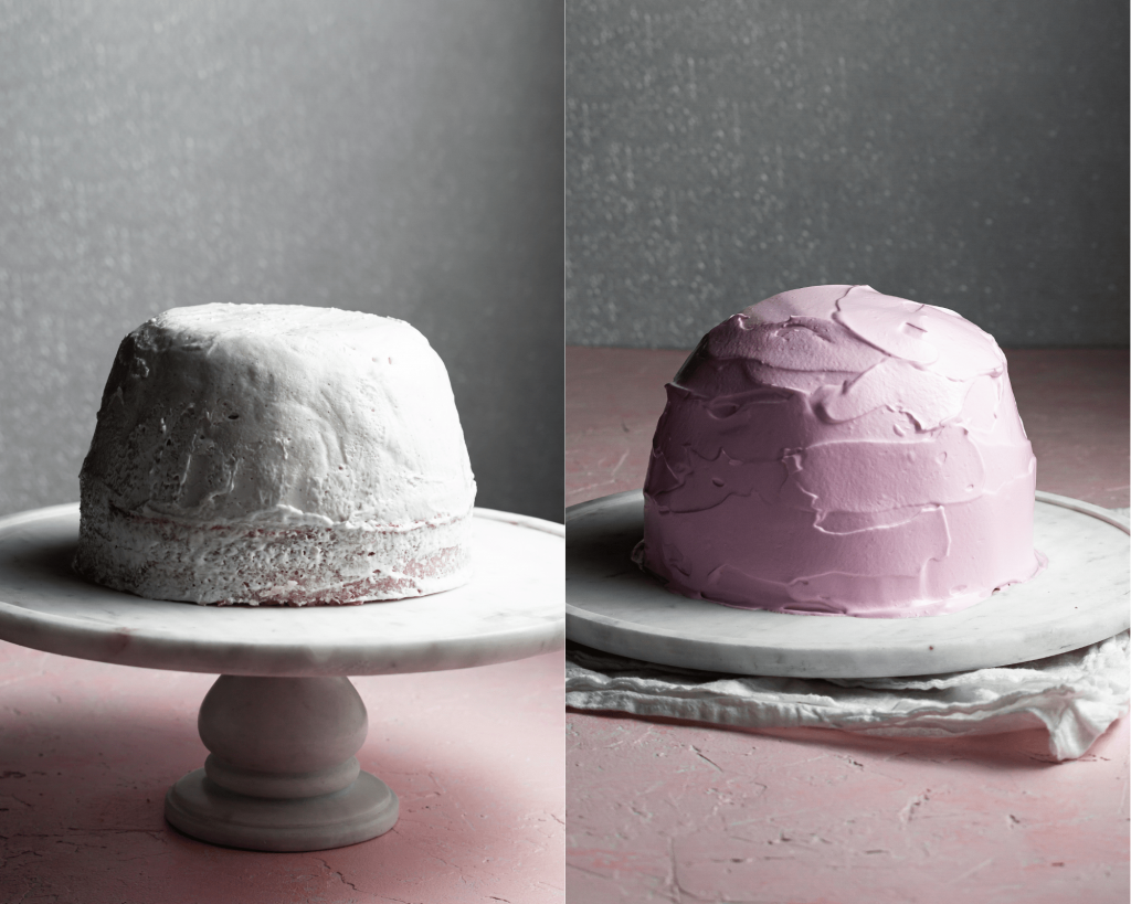 Before and after: first image shows a dome of ice cream over a circle of cake. The second image shows the same dome covered in a a layer of pink meringue