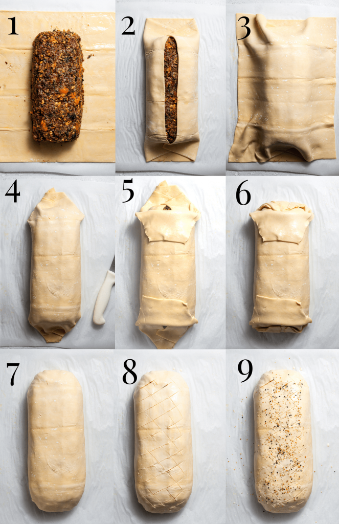 A step by step series of 9 images showing how to assemble a vegetable Wellington.
