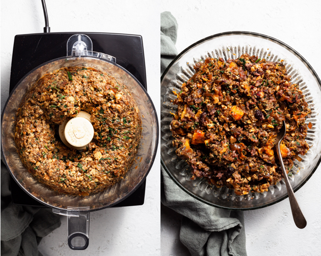 Two images, the first showing the texture of  half of the ingredients for the vegan wellington, the second image showing all of the ingredients stirred in a large bowl.