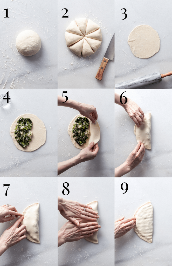9 step-by-step images showing how to roll, fill, fold and close stuffed flatbread.