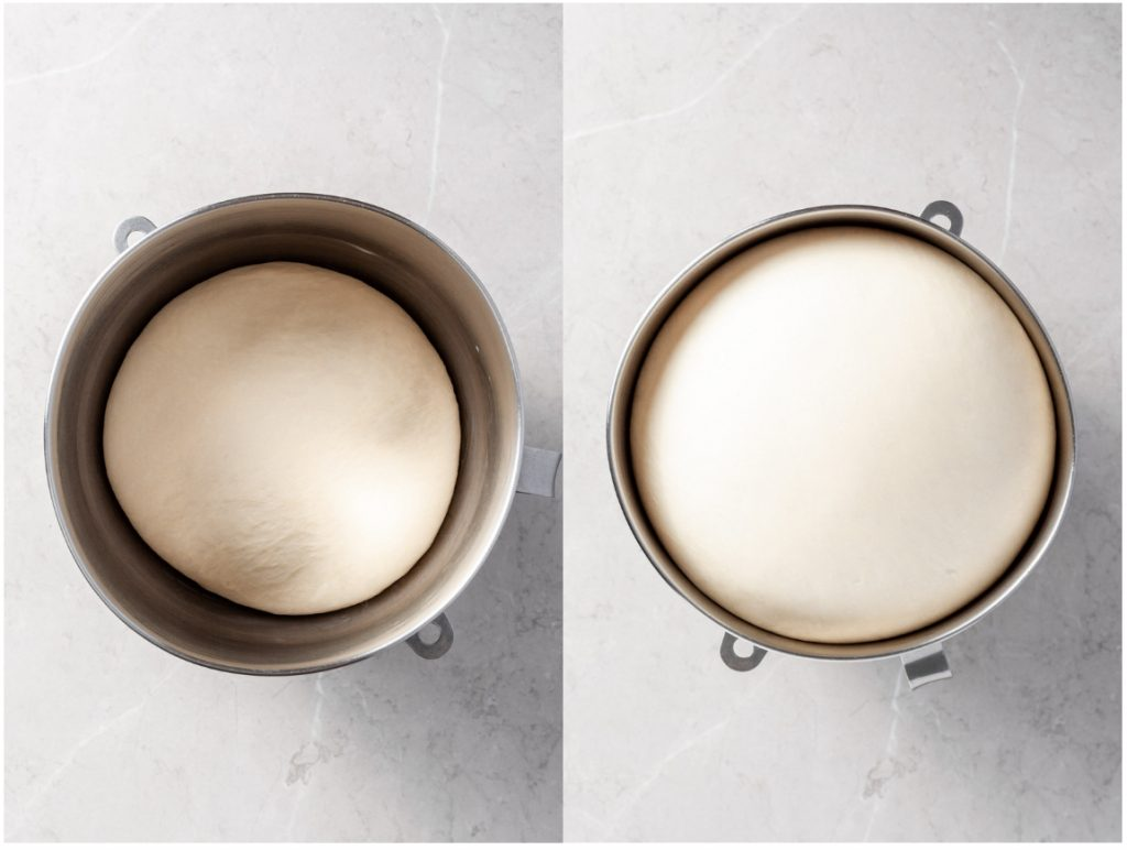 Two images - the first is of a bowl with a ball of dough at the bottom. The second image shows the same bowl with the same ball of dough but it has risen and has doubled in size.