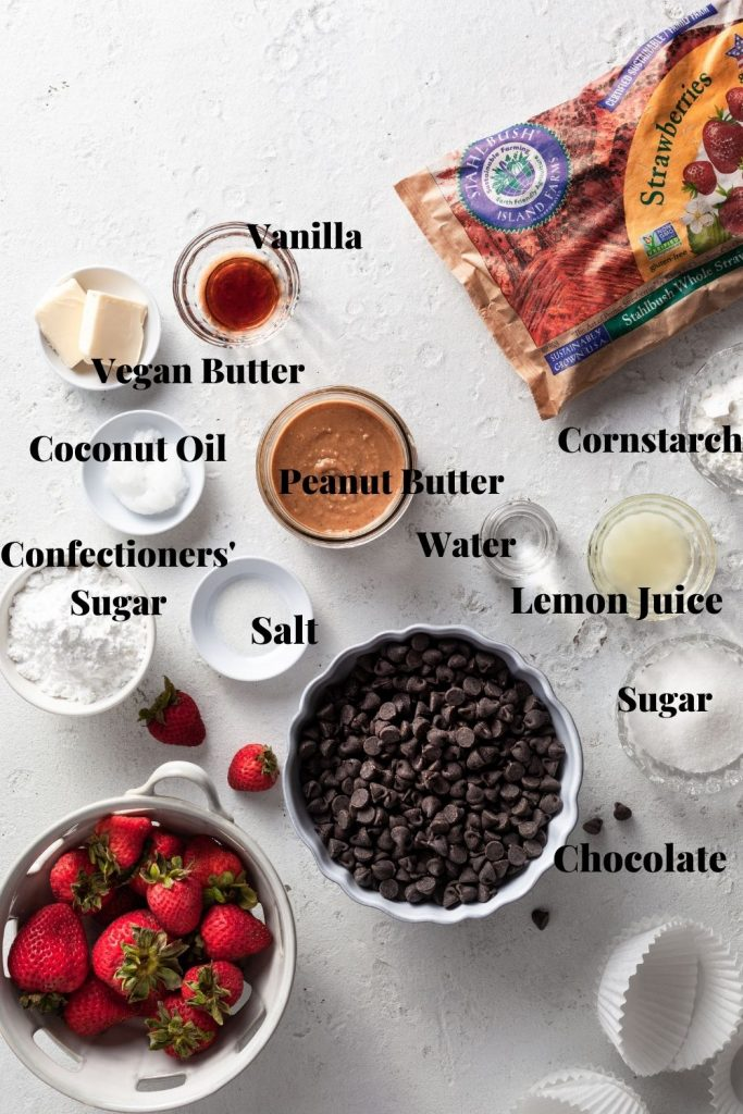 The labelled ingredients needed for the chocolate peanut butter cup recipe